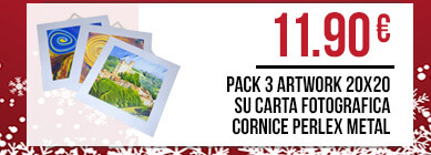 Pack 3 ArtWork 20x20 su carta fotografica cornice perlex metal