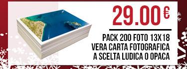 Pack 200 Foto 13x18 vera carta fotografica a scelta ludica o opaca